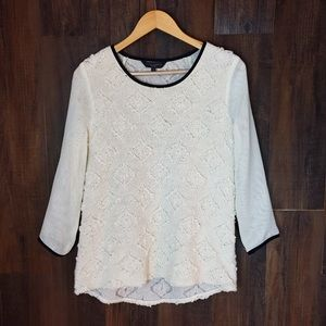 Waverly Grey Cream Knit Front 1/2 Sleeve Top #517